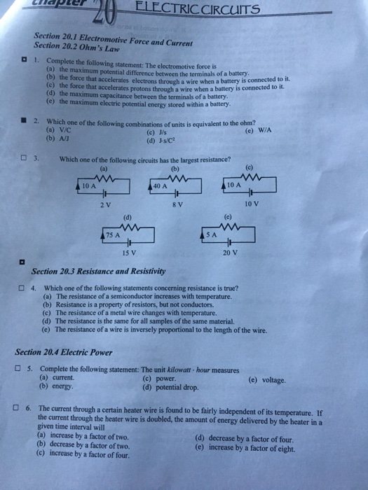 Solved: ELECTRICCIRCUITS Section 20.1 Electromotive Force ...