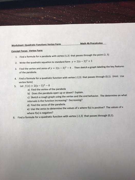 Solved Worksheet Quadratic Functions Vertex Form 1 Find