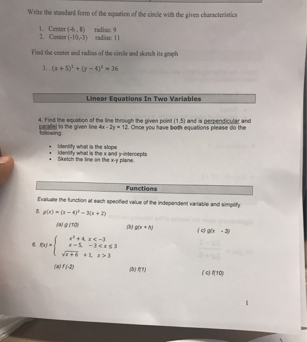 Solved Write The Standard Form Of The Equation Of The Cir