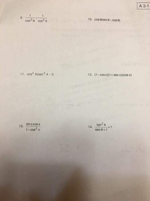 basic trig identities worksheet pdf