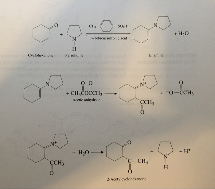 preparation of 2 acetylcyclohexanone Step 2: reaction of the enamine with the acetic anhydride to form 1-pyrrolidinocyclohexene (the intermediate) the third and final step is the reaction of the intermediate(1-pyrrolidino-1-cyclohexene) with water in order to form final product 2-acetylcyclohexanone.