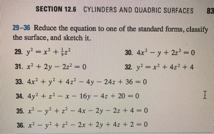 Solved Reduce The Equation To One Of The Standard Forms