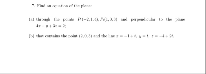 how to find plane equation given 3 points