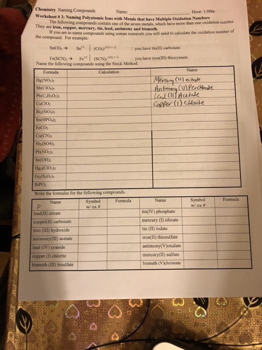 Solved Chemistry Naming Compounds Worksheet 3 Naming P