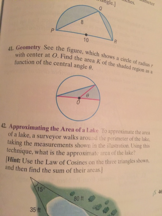 Geometry see the figure which shows a circle of r chegg question geometry see the figure which shows a circle of radius r with center at o find the area functio ccuart Image collections