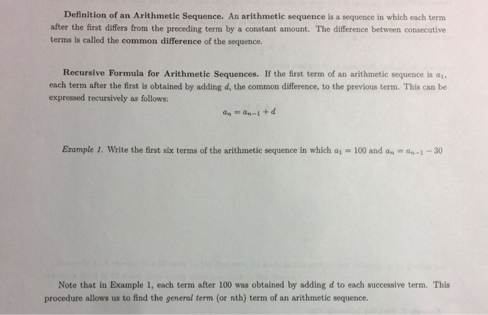 Solved Definition Of An Arithmetic Sequence An Arithmeti