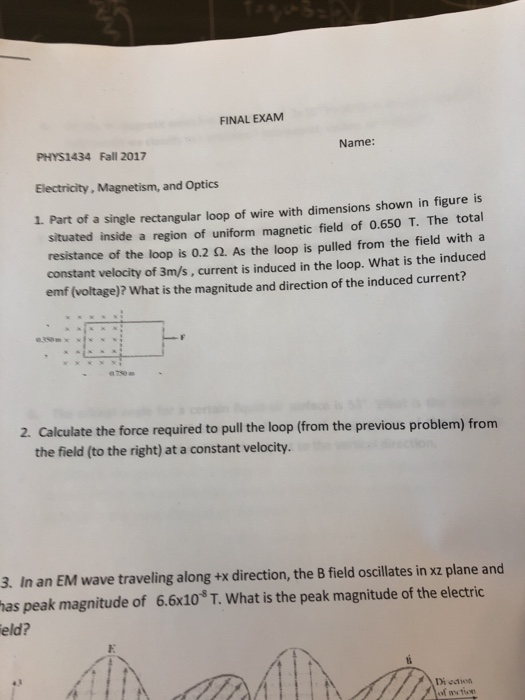 solved  final exam phys1434 fall 2017 name  electricity  m