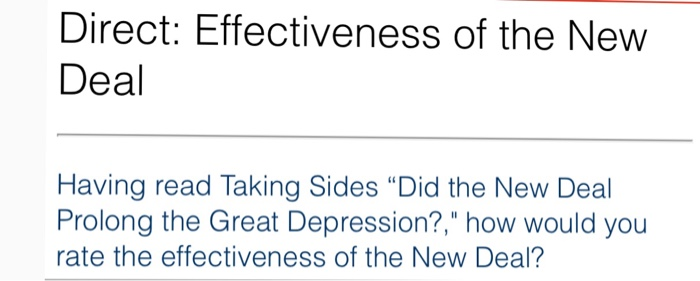 effectiveness of the new deal in On the great depression and the new deal and the control of new marked in industries in which aaa processing taxes or nra codes have become effective.