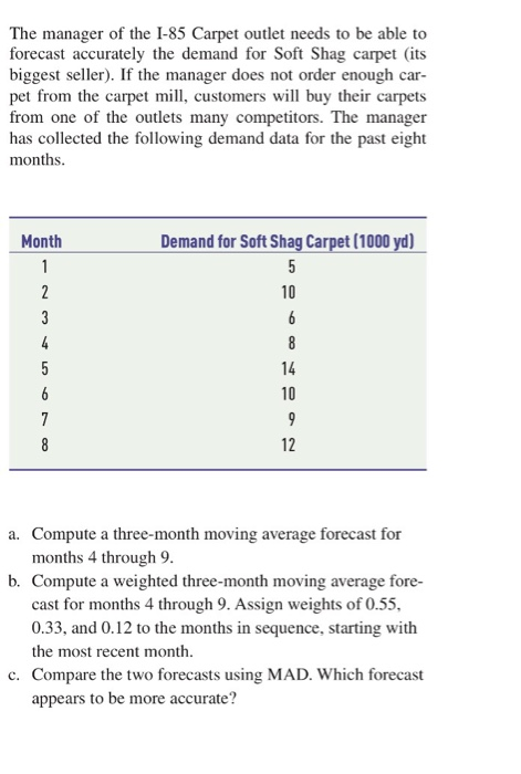 question the manager of the 85 carpet outlet needs to be able to forecast accurately the demand for soft s