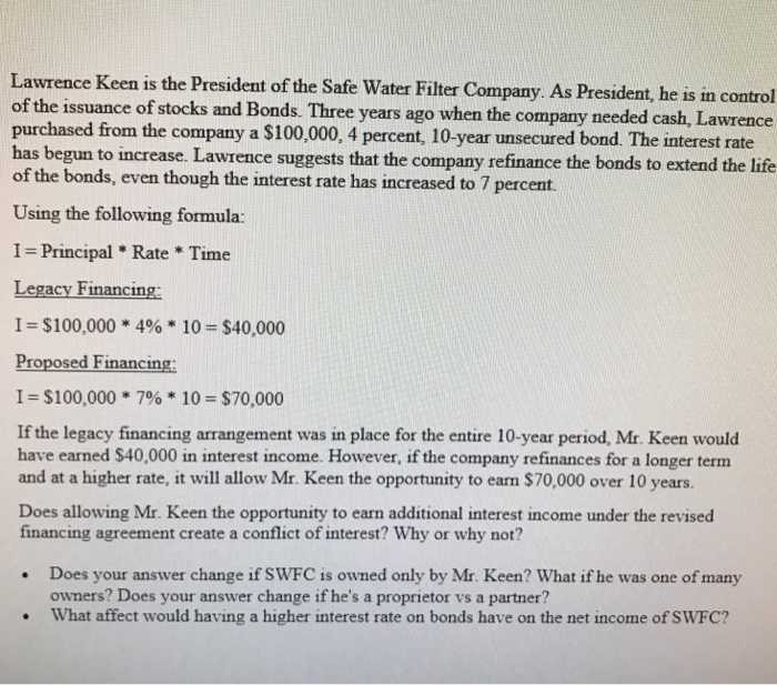 Accounting archive march 20 2018 chegg lawrence keen is the president of the safe water filter company as president he fandeluxe Choice Image