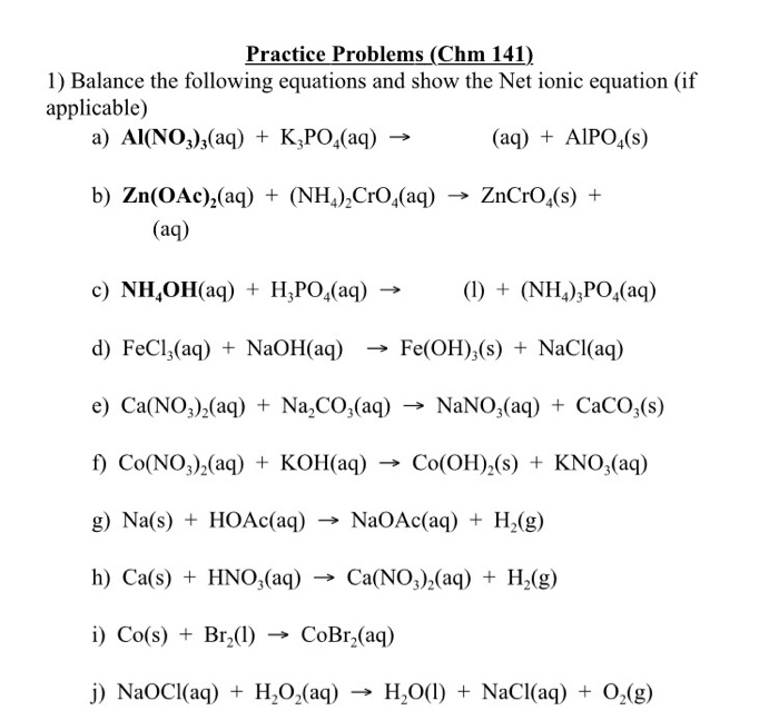Balancing Net Ionic Equations Jennarocca – Net Ionic Equation Worksheet