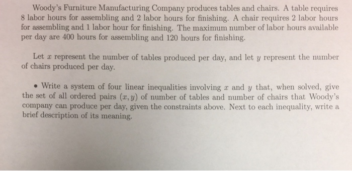 Question: Woodyu0027s Furniture Manufacturing Company Produces Tables And Chairs.  A Table Requires 8 Labor Hour.