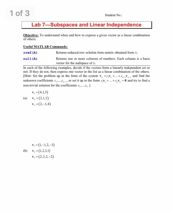 how to tell if a vector are linearly independent