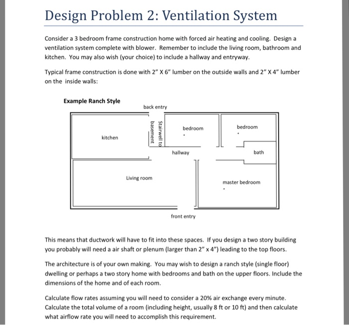 Design Problem 2: Ventilation System Consider A 3 Bedroom Frame  Construction Home With Forced Air