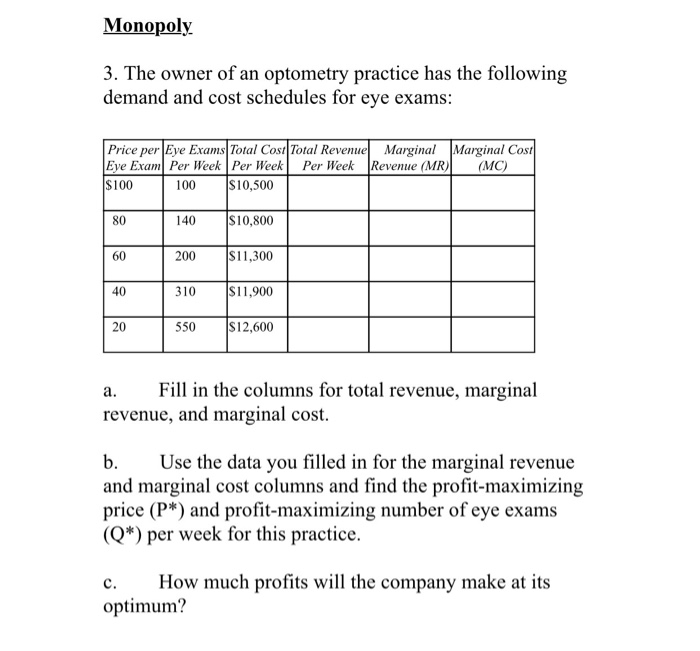 monopoly questions and answers Economics exam questions and economics exam answers to help students study for microeconomics exams and be prepared for classes.