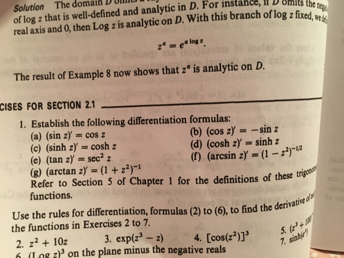 Establish the following differentiation formulas chegg solution the domain d 0lll of log z that is well defined and analytic in sciox Images