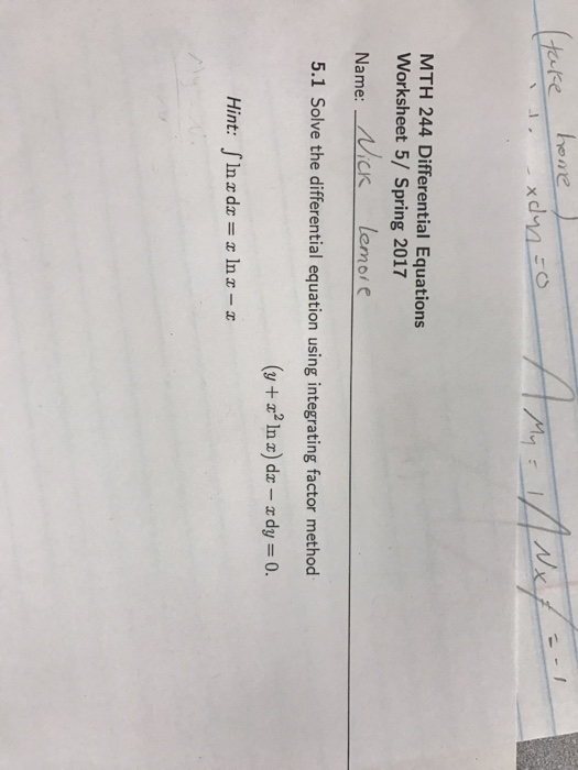 Calculus Archive February 16 2017 – Differential Equations Worksheet