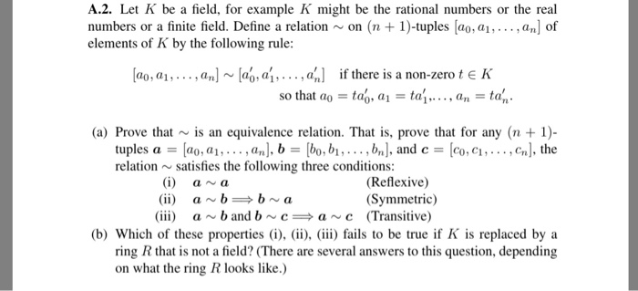 Solved A2 Let K Be A Field For Example K Might Be The