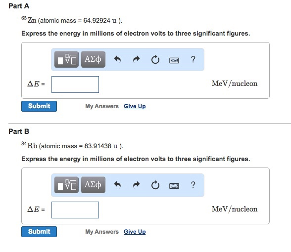 Calculate The Binding Energy (in MeV/nucleon) For