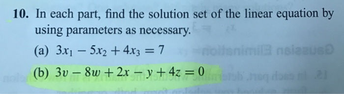 how to find the solution set of a linear equation