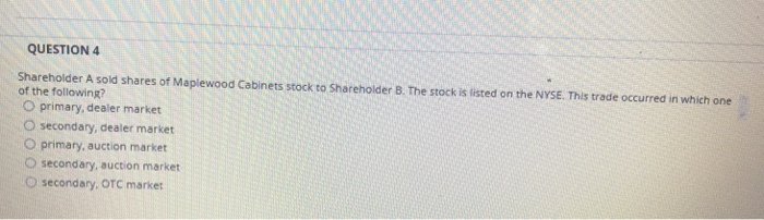 QUESTION 4 Shareholder A Sold Shares Of Maplewood Cabinets Stock To  Shareholder B. The Stock
