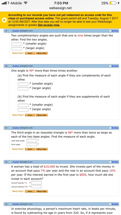 Solved: Two Complementary Angles Are Such That One Is Nine ...