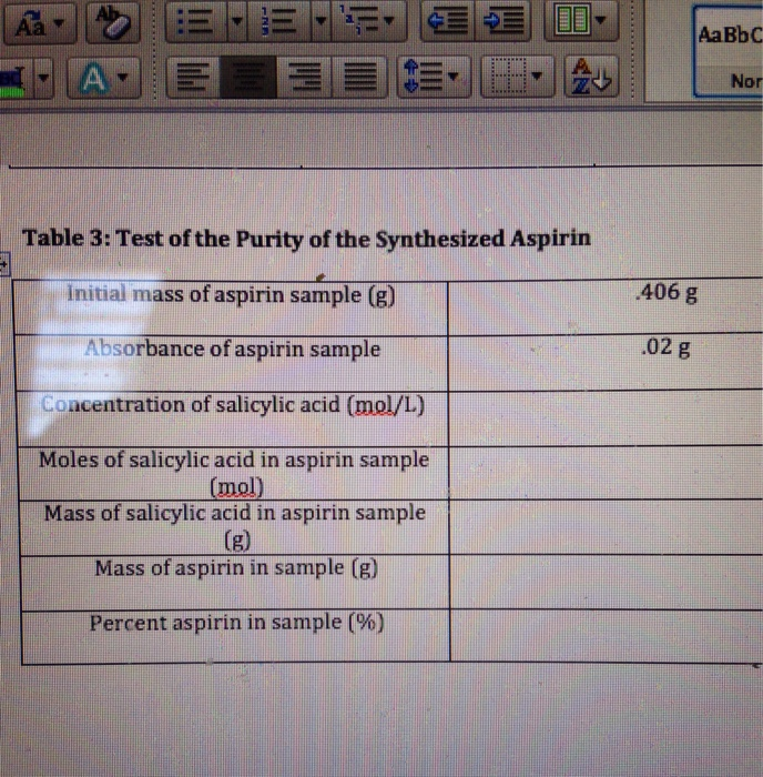 the purity of an aspirin sample The concentration, the amount of acetylsalicylic acid and purity of aspirin sample will be determined by using beer's law plot the concentration and absorbance of sodium salicylate will be found, thus being able to find the percentage purity of aspirin.