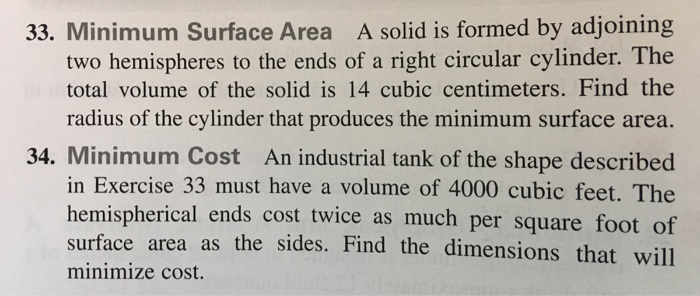 33 minimum surface area a solid is formed by adjo chegg minimum surface area a solid is formed by adjoining two hemispheres to the ends ccuart Choice Image