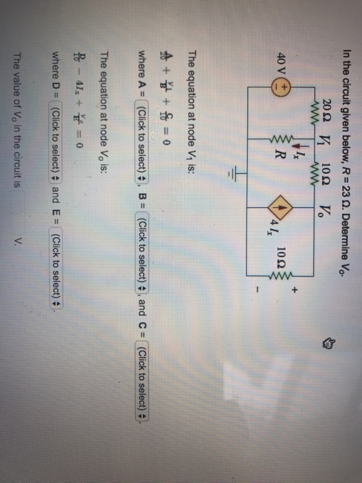 in the circuit given below r u003d 23 determine vo 20 40