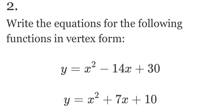Solved Write The Equations For The Following Functions In