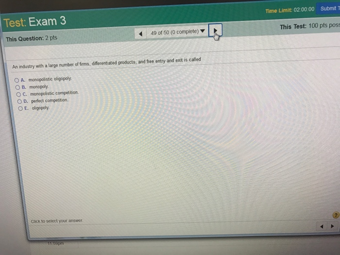 Question: Test: Exam 3 This Question: 2 pts Game theory is used to analyze the interactions among firms in ...