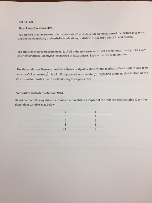 test prep short essay questions % you are to com question test 1 prep short essay questions 30% you are told that the success of econometricians work de