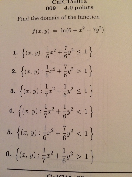 Solved: Find The Domain Of The Function F(x, Y) = Ln(6