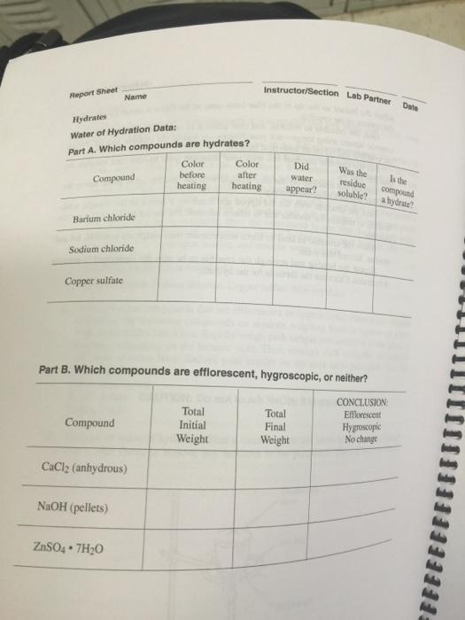 formula of a hydrate lab report barium chloride Barium periodic table  true formula for barium chloride hydrate: h) moles of barium chloride l)  lab report: title page summary a.