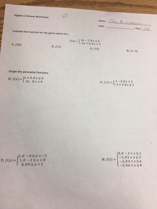 Algebra 2 Review Worksheet Evaluate The Function F – Function Review Worksheet