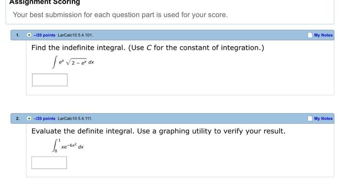 indefinite integration homework answers