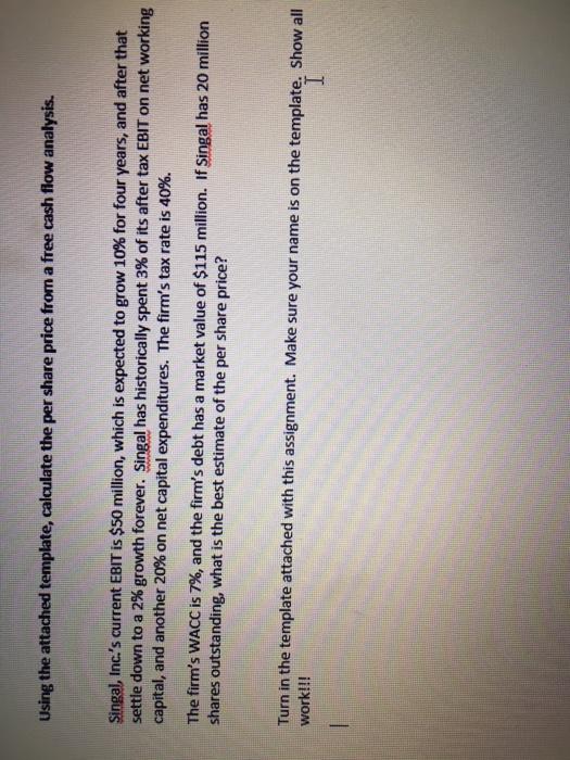 Using The Attached Template, Calculate The Per Sha...   Chegg.com