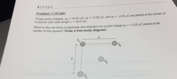 solved  three point charges  q a    6 00 mu c  q b    3 00