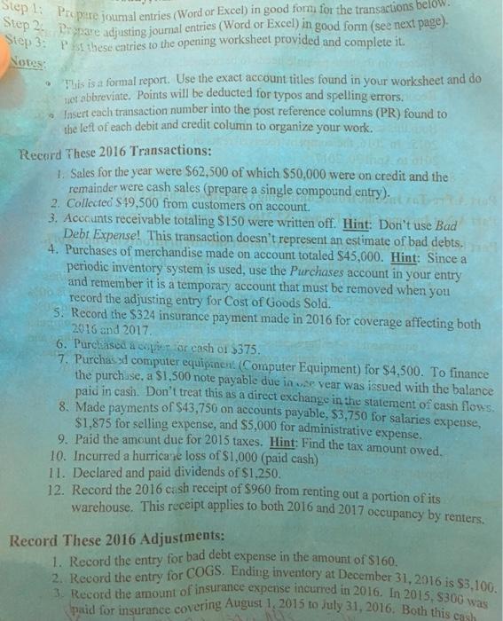 how to make adjusting entries in excel