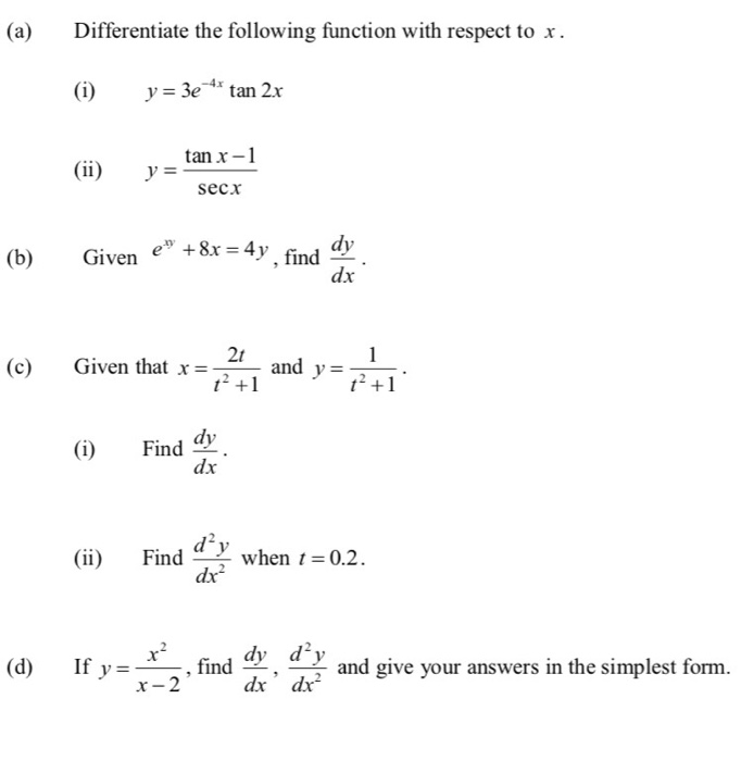 Solved: Differentiate The Following Function With Respect