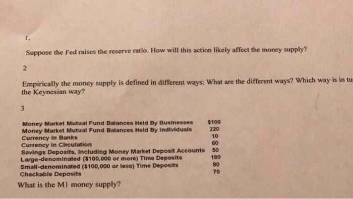 Question: Suppose the Fed raises the reserve ratio. How will this action likely affect the money supply?  E...