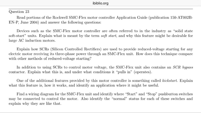electrical engineering archive com ibiblio org question 23 portions of the rockwell smc flex motor controller application
