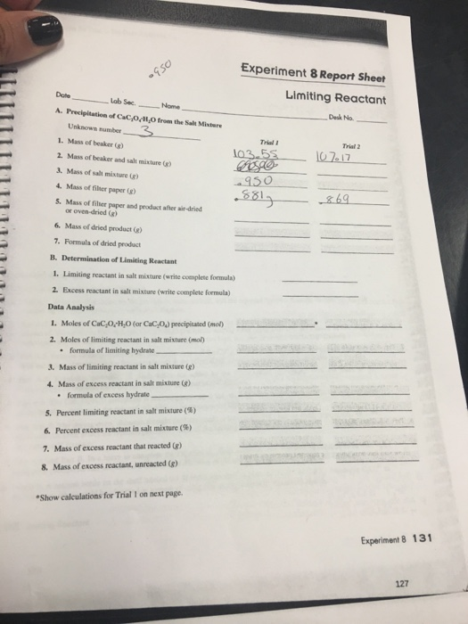 limiting and excess reagents lab report Chemistry 2202 name: lab - limiting reagents purpose: 1 to determine the limiting reagent and theoretical yield for a chemical reaction which.