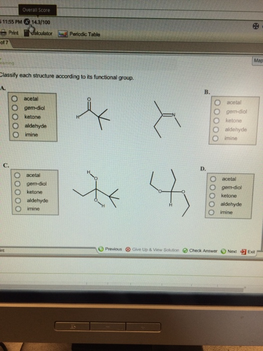 classify each structure according to its functiona