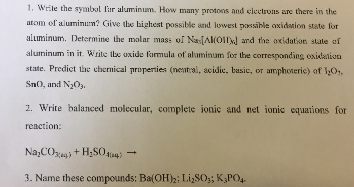 Solved Write The Symbol For Aluminum How Many Protons An