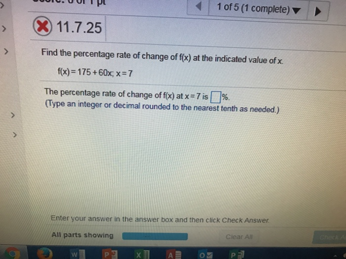 Algebra archive july 02 2017 chegg 1 of 5 1 complete x 11725 117 find the percentage rate of change ccuart Images