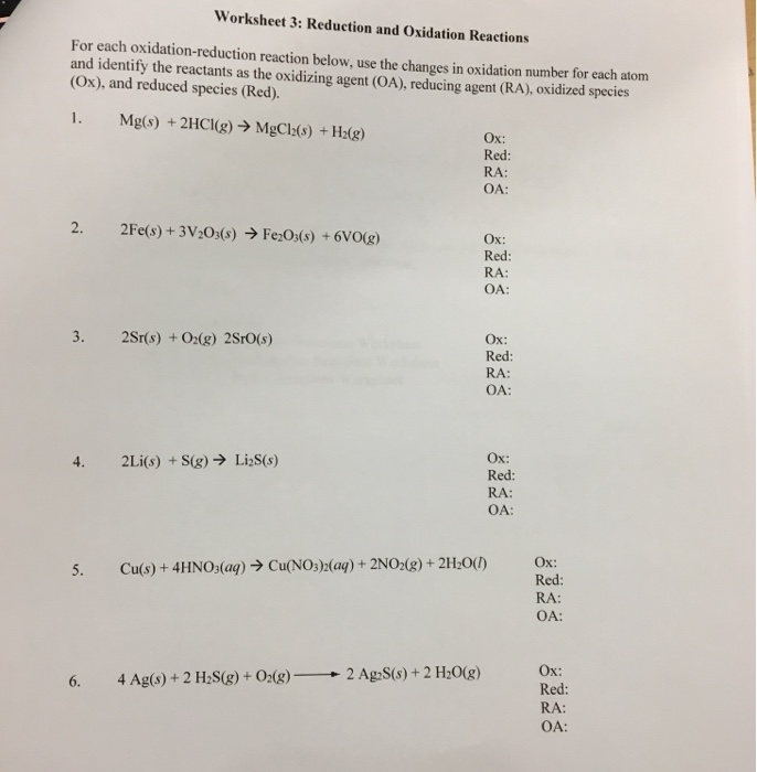 Solved Worksheet 3 Reduction And Oxidation Reactions For