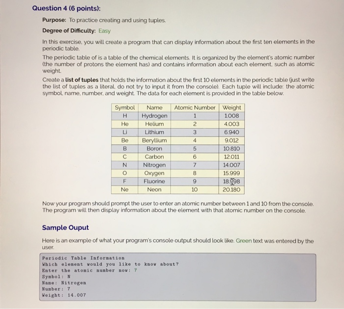 Solved purpose to practice creating and using tuples de question 4 6 points purpose to practice creating and using tuples urtaz Images