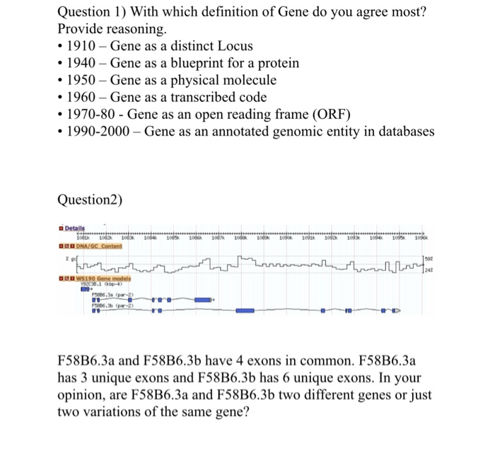 Solved with which definition of gene do you agree most p question 1 with which definition of gene do you agree most provide reasoning malvernweather Images