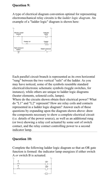 Solved question 9 a type of electrical diagram conventio question 9 a type of electrical diagram convention optimal for representing electromechanical relay circuits is cheapraybanclubmaster Choice Image